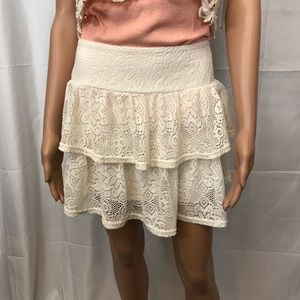 Jr's Dream Out Loud Cream Lace Tiered Mini Skirt